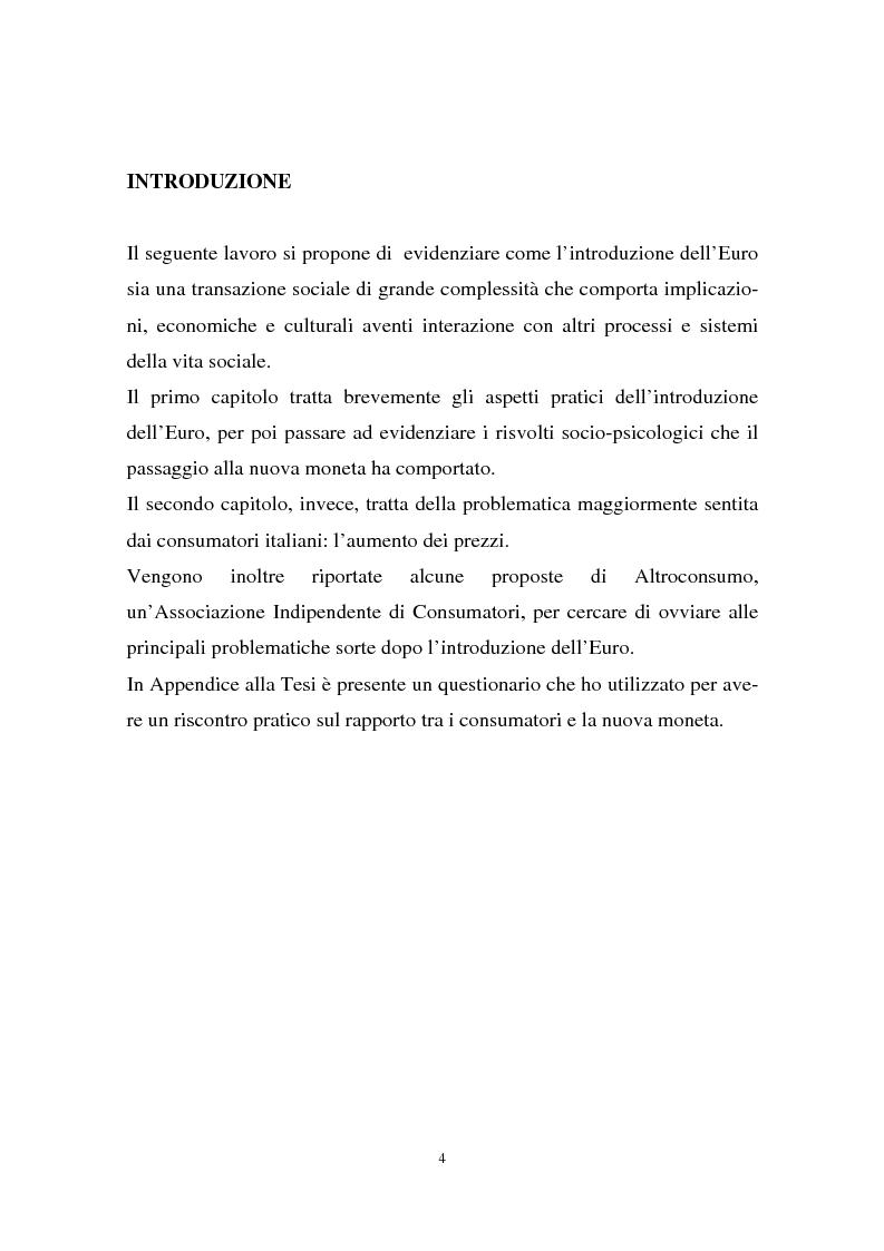 Anteprima della tesi: Il passaggio all'euro tra percezione e realtà, Pagina 1