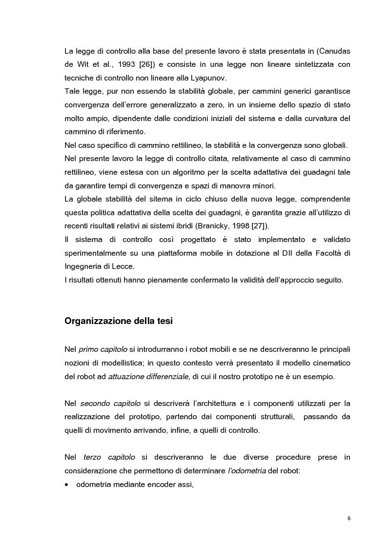 Anteprima della tesi: Sviluppo e validazione sperimentale di una tecnica di controllo adattativa di un robot mobile per l'inseguimento di cammini, Pagina 7