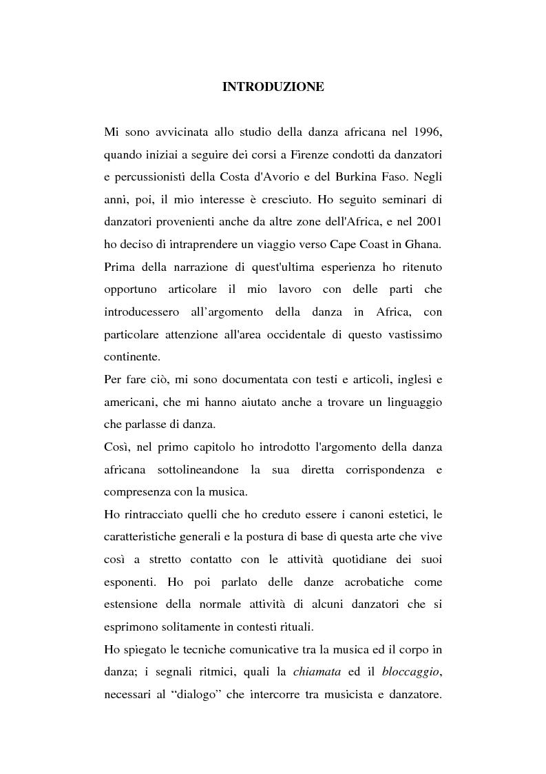 Anteprima della tesi: Antropologia della danza in contesto africano. Un'esperienza in Ghana, Pagina 1