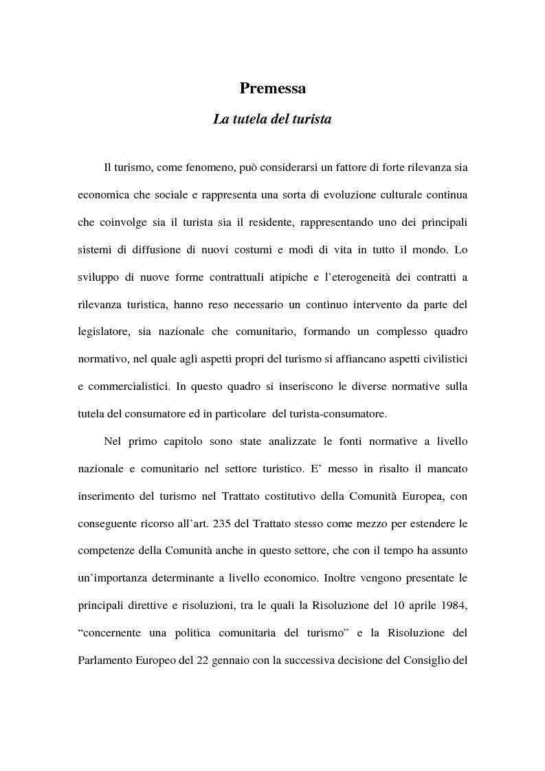 Anteprima della tesi: La tutela del turista, Pagina 1