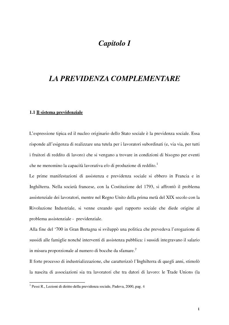 Anteprima della tesi: Previdenza complementare e trattamento di fine rapporto, Pagina 1