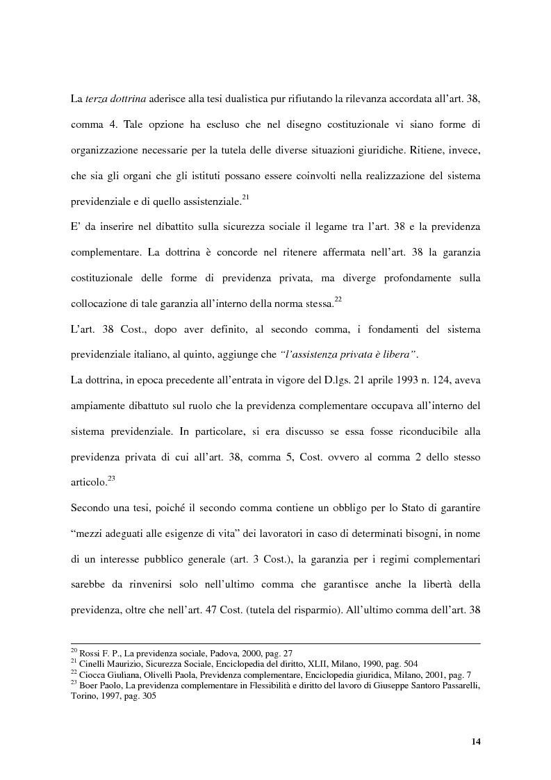 Anteprima della tesi: Previdenza complementare e trattamento di fine rapporto, Pagina 14