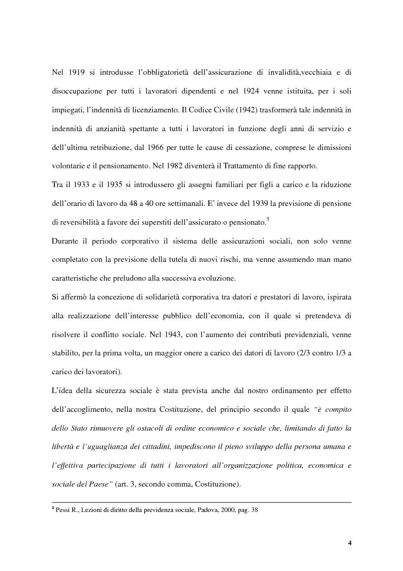 Anteprima della tesi: Previdenza complementare e trattamento di fine rapporto, Pagina 4