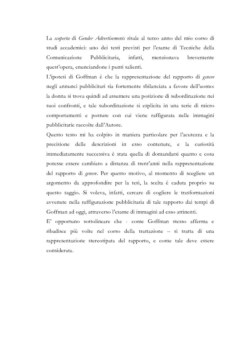 Anteprima della tesi: Gender Advertisements, Erving Goffman, 1979: un confronto in chiave attuale, Pagina 1