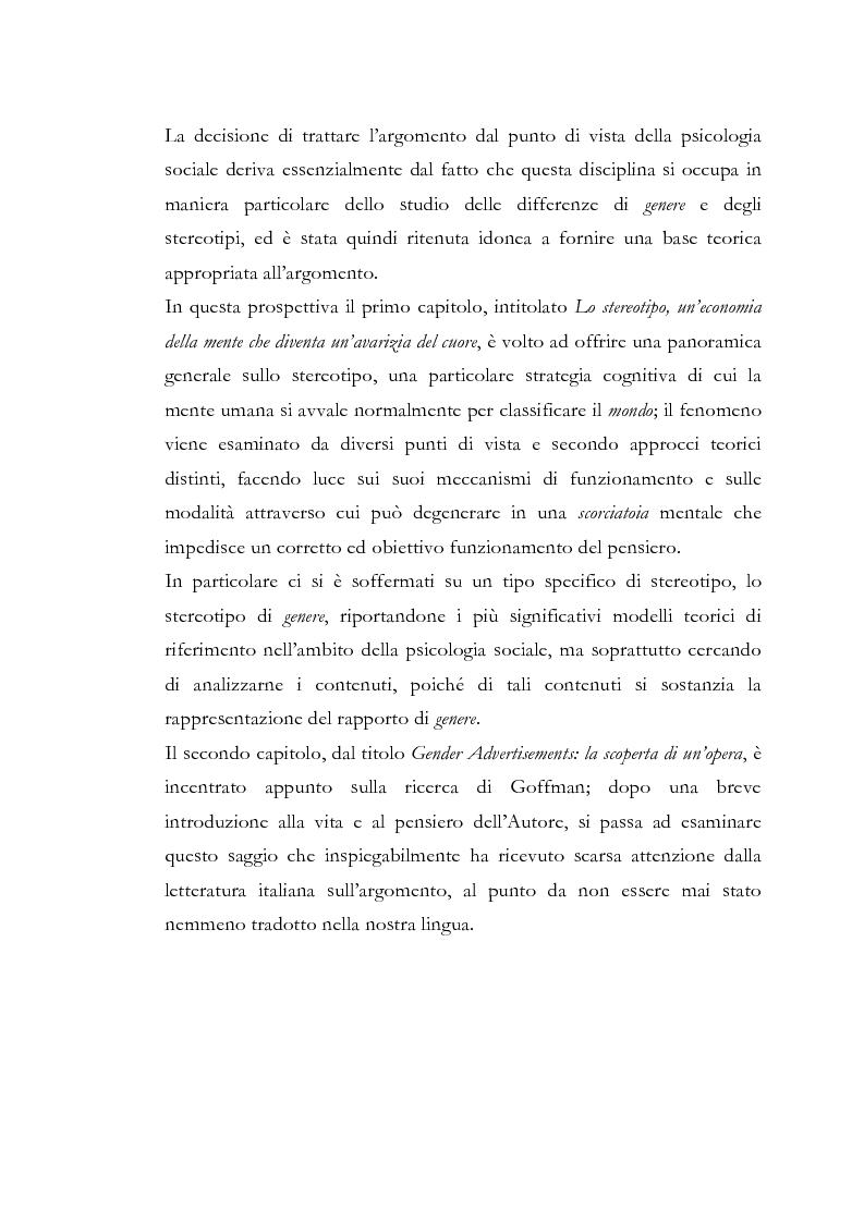 Anteprima della tesi: Gender Advertisements, Erving Goffman, 1979: un confronto in chiave attuale, Pagina 2