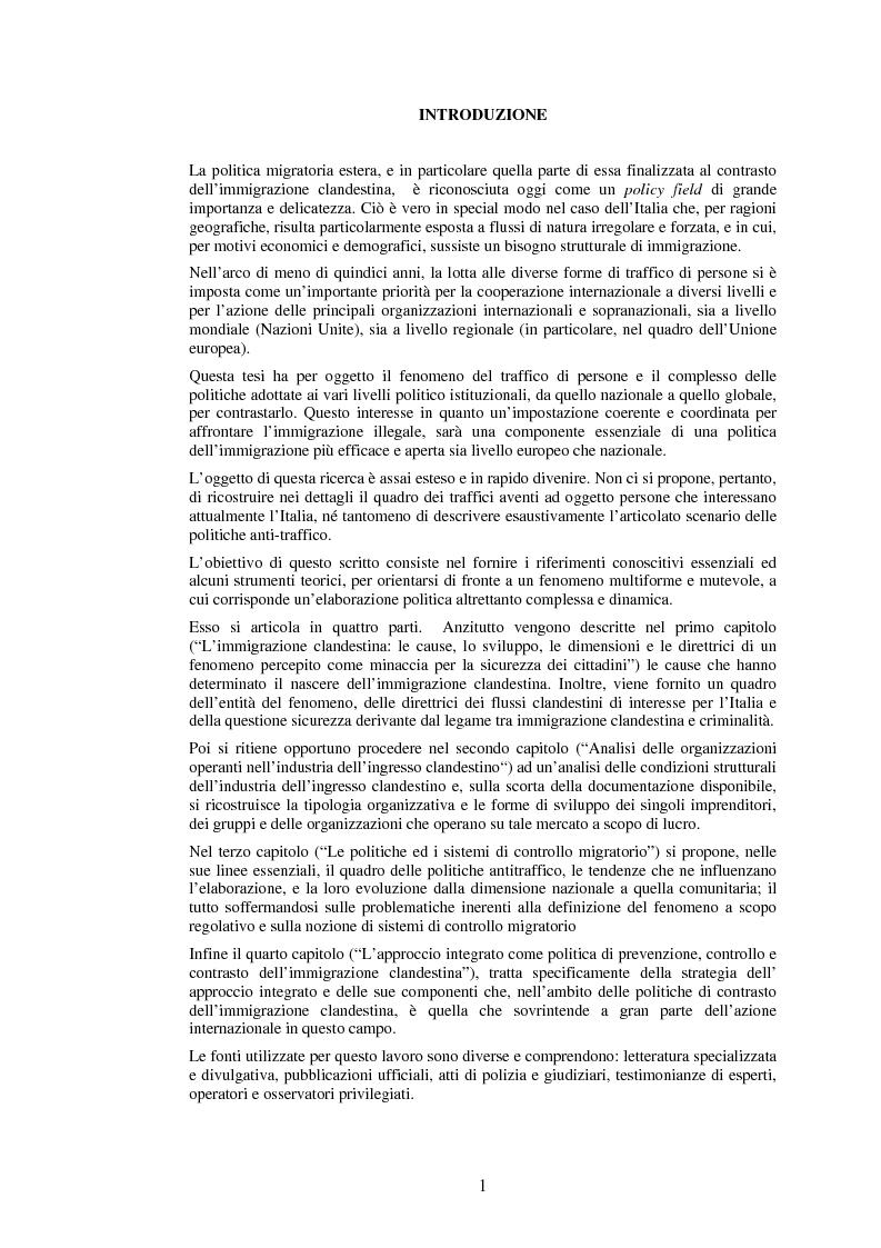 Anteprima della tesi: Le politiche di prevenzione, controllo e contrasto dell'immigrazione clandestina, Pagina 1