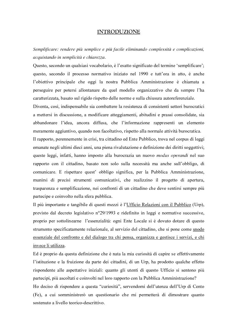 Anteprima della tesi: Urp: un ponte in costruzione tra cittadino ed ente pubblico. Il caso di Cento (Fe), Pagina 1