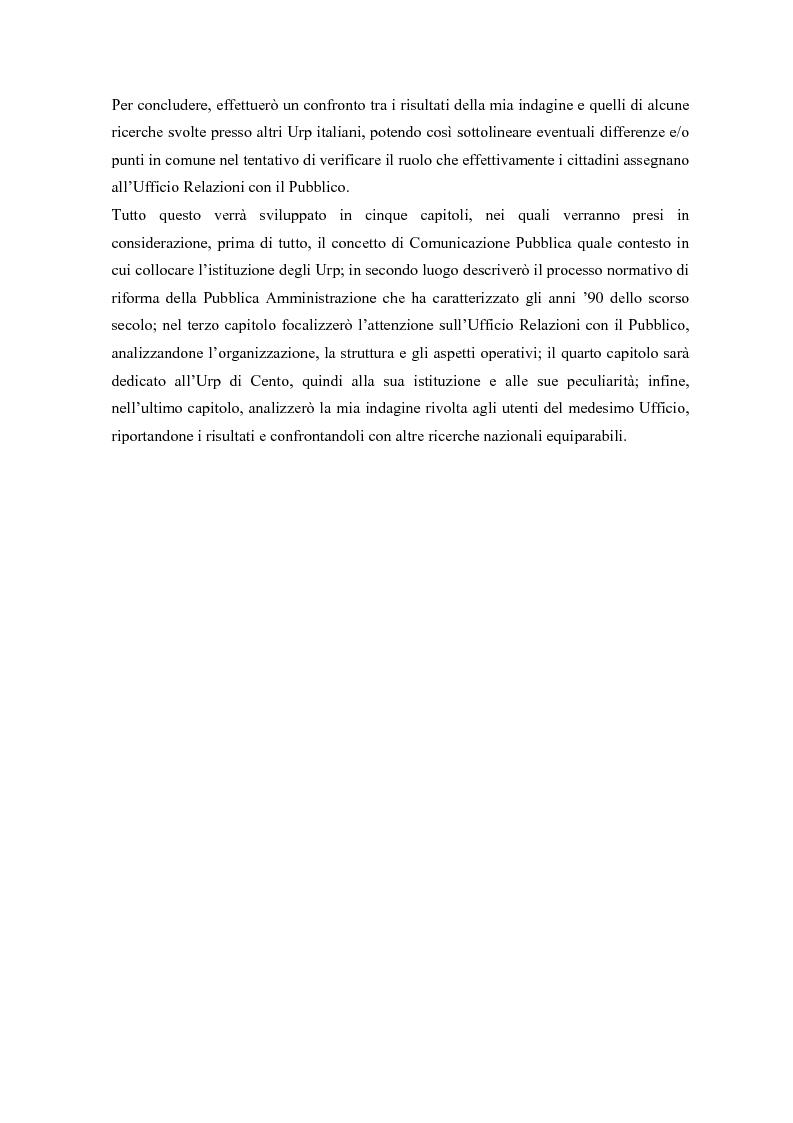 Anteprima della tesi: Urp: un ponte in costruzione tra cittadino ed ente pubblico. Il caso di Cento (Fe), Pagina 2