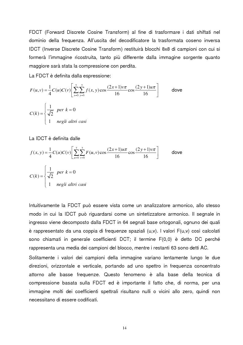 Anteprima della tesi: Metodi di compressione Jpeg e Jpeg2000 per immagini fisse, Pagina 11