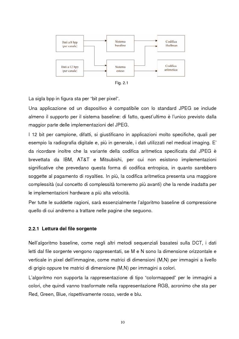 Anteprima della tesi: Metodi di compressione Jpeg e Jpeg2000 per immagini fisse, Pagina 7