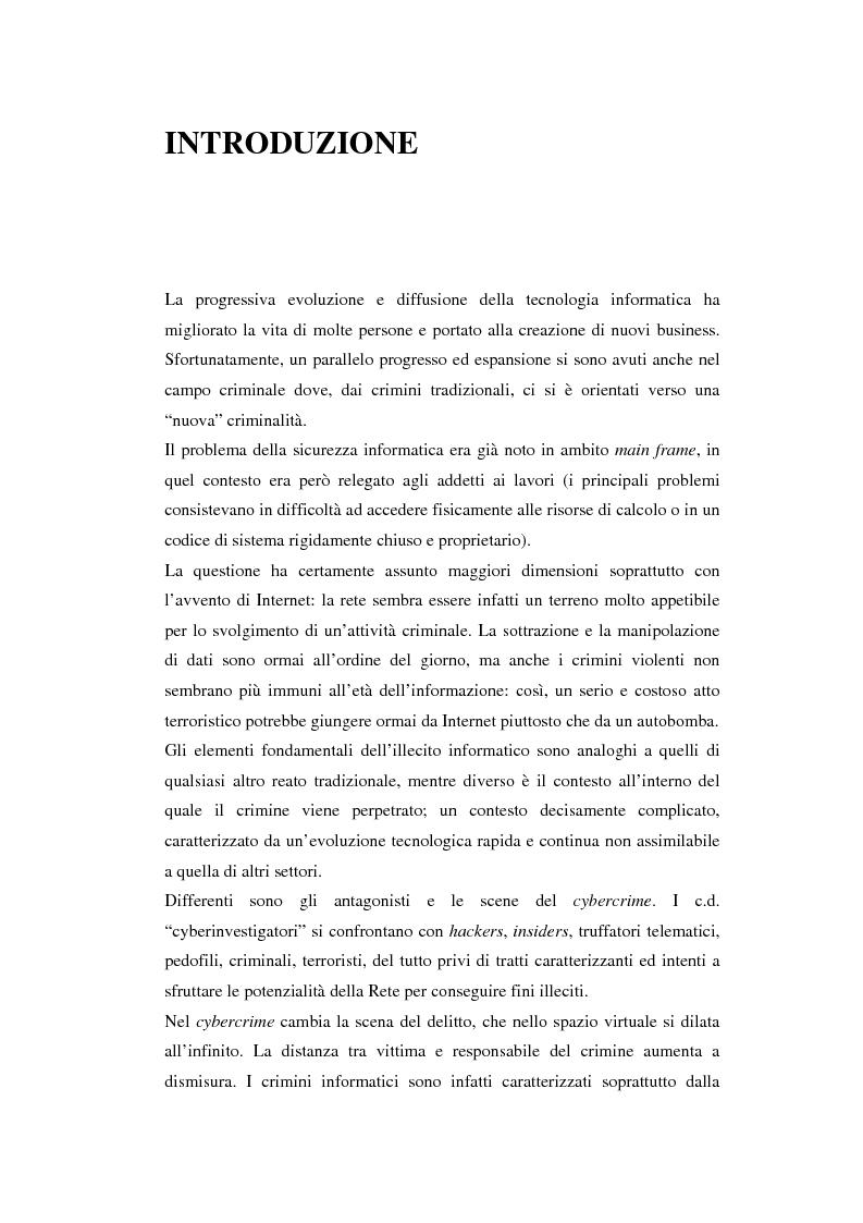 Anteprima della tesi: Problematiche giuridiche correlate alla Computer & Network Forensics, Pagina 1