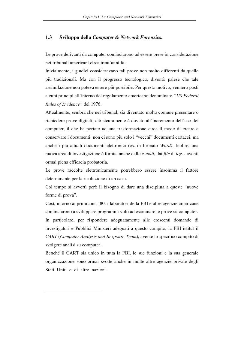Anteprima della tesi: Problematiche giuridiche correlate alla Computer & Network Forensics, Pagina 15