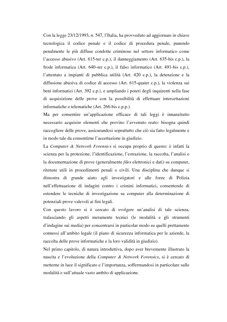 Anteprima della tesi: Problematiche giuridiche correlate alla Computer & Network Forensics, Pagina 4