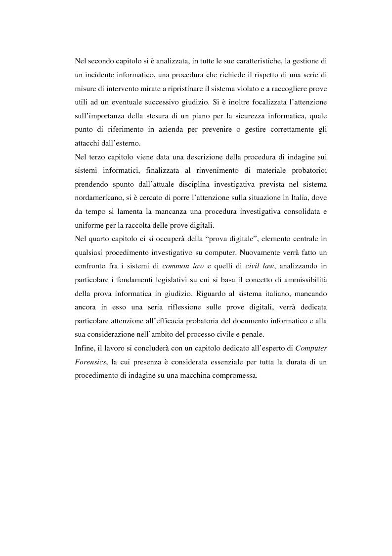 Anteprima della tesi: Problematiche giuridiche correlate alla Computer & Network Forensics, Pagina 5