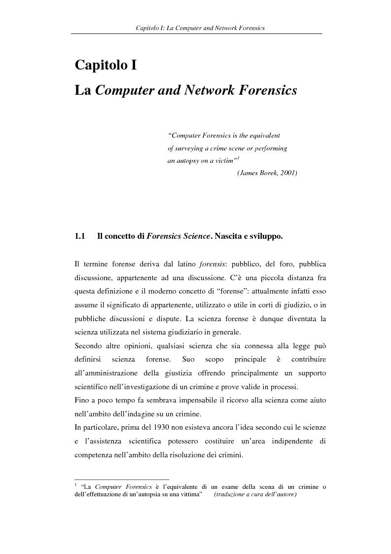 Anteprima della tesi: Problematiche giuridiche correlate alla Computer & Network Forensics, Pagina 9