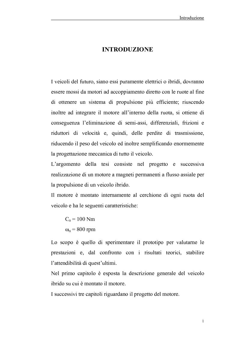 Anteprima della tesi: Progetto, realizzazione e sperimentazione dei motori di trazione per un veicolo elettrico con ruote interamente sterzanti, Pagina 1