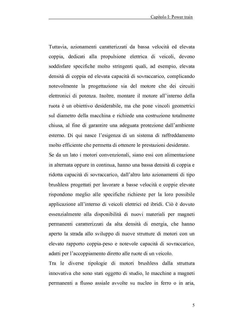 Anteprima della tesi: Progetto, realizzazione e sperimentazione dei motori di trazione per un veicolo elettrico con ruote interamente sterzanti, Pagina 5