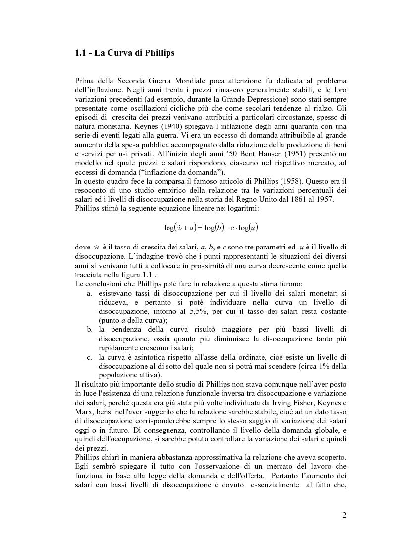 Anteprima della tesi: La curva di Phillips: teorie e verifiche empiriche, Pagina 1