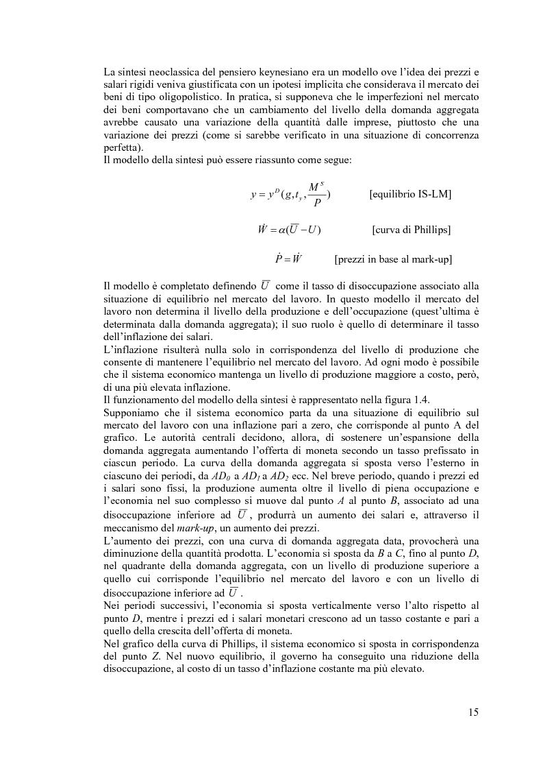 Anteprima della tesi: La curva di Phillips: teorie e verifiche empiriche, Pagina 14
