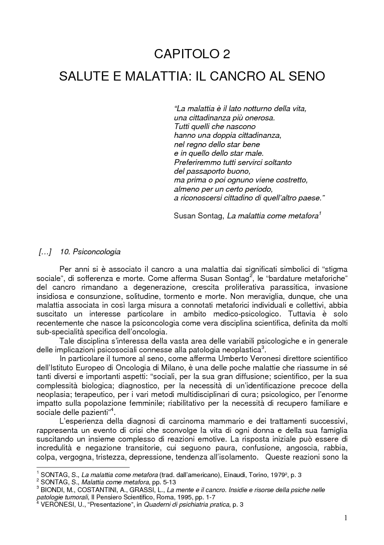 Anteprima della tesi: Il corpo ritrovato. Intervento educativo con donne operate di tumore al seno attraverso la metodologia della Biodanza, Pagina 1
