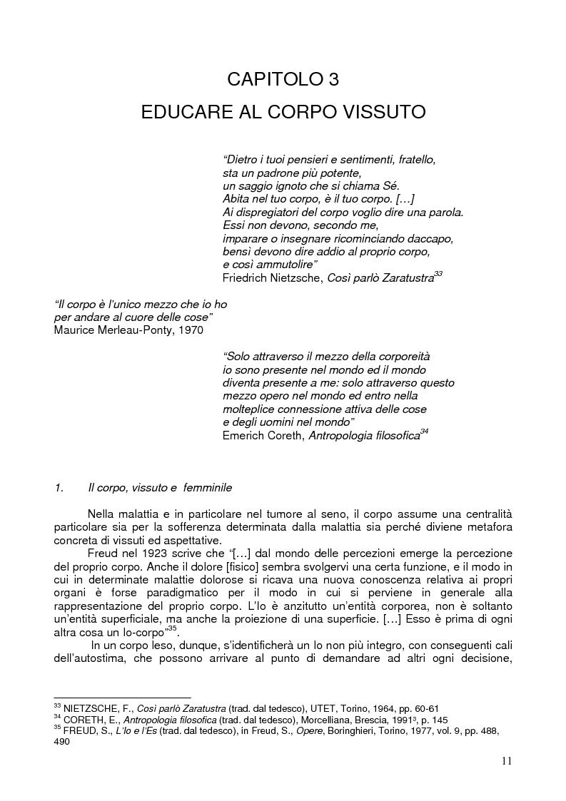 Anteprima della tesi: Il corpo ritrovato. Intervento educativo con donne operate di tumore al seno attraverso la metodologia della Biodanza, Pagina 11