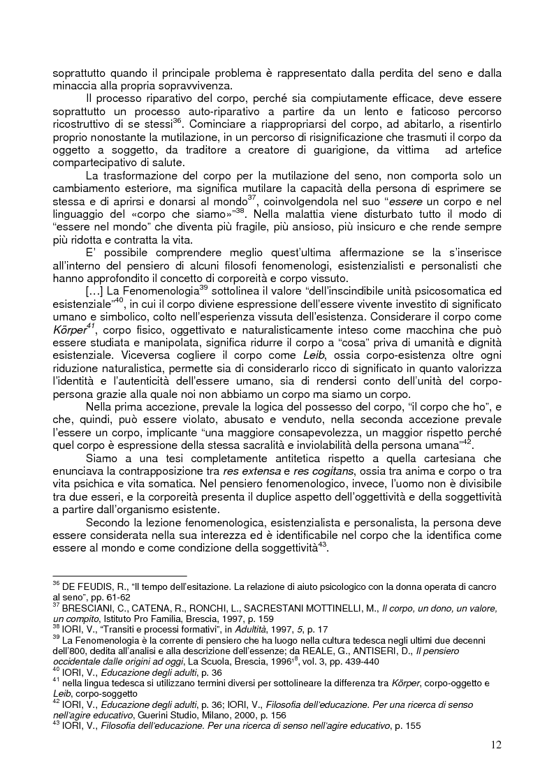 Anteprima della tesi: Il corpo ritrovato. Intervento educativo con donne operate di tumore al seno attraverso la metodologia della Biodanza, Pagina 12