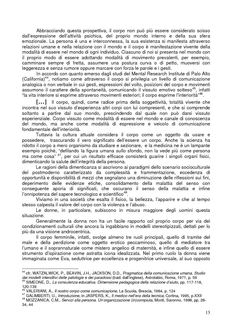 Anteprima della tesi: Il corpo ritrovato. Intervento educativo con donne operate di tumore al seno attraverso la metodologia della Biodanza, Pagina 13