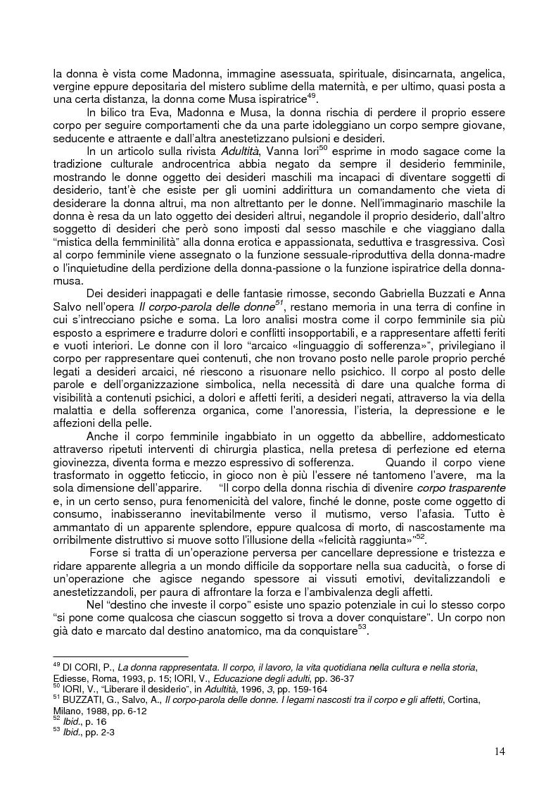 Anteprima della tesi: Il corpo ritrovato. Intervento educativo con donne operate di tumore al seno attraverso la metodologia della Biodanza, Pagina 14
