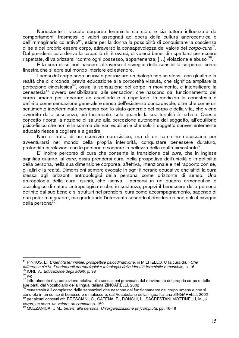 Anteprima della tesi: Il corpo ritrovato. Intervento educativo con donne operate di tumore al seno attraverso la metodologia della Biodanza, Pagina 15