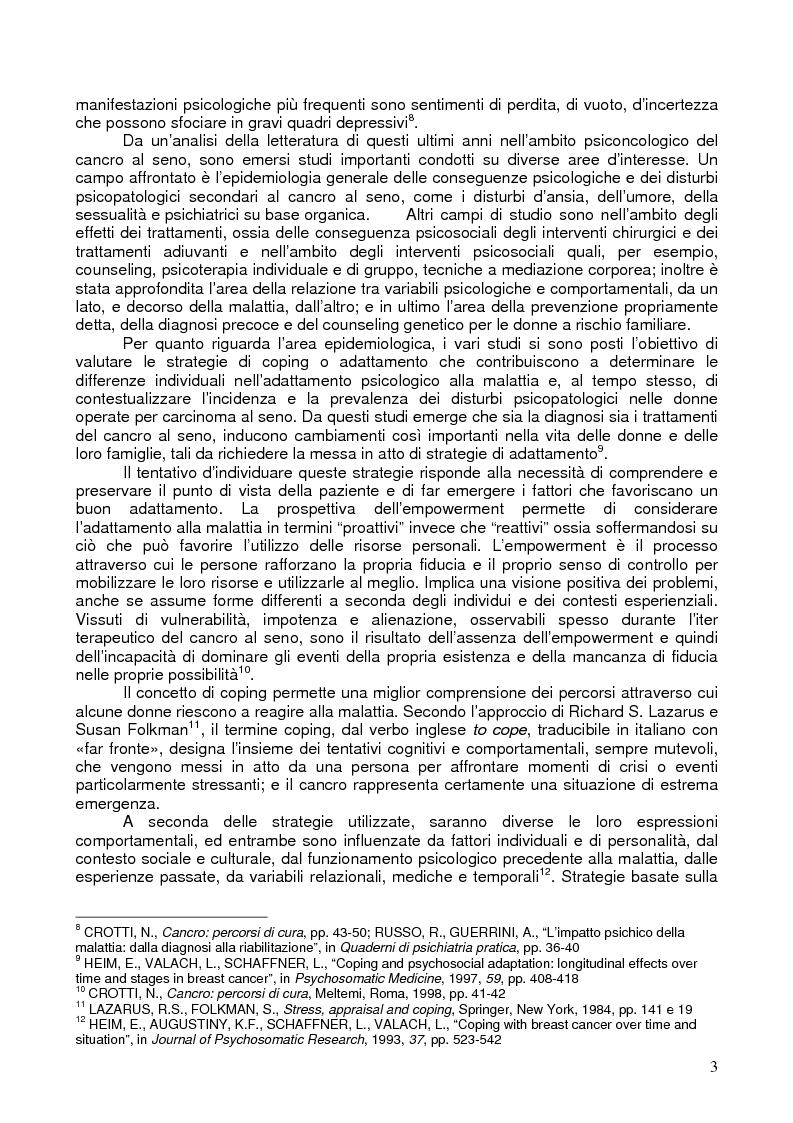 Anteprima della tesi: Il corpo ritrovato. Intervento educativo con donne operate di tumore al seno attraverso la metodologia della Biodanza, Pagina 3