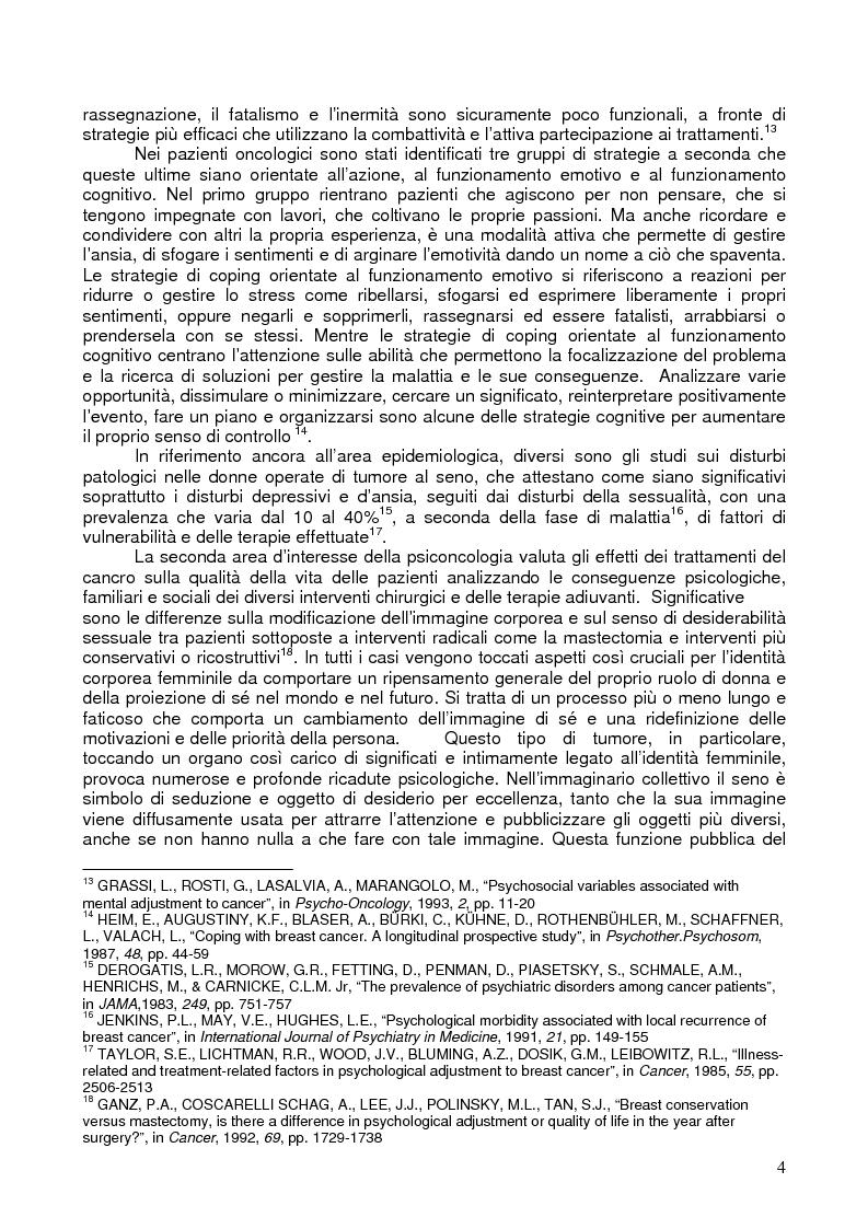 Anteprima della tesi: Il corpo ritrovato. Intervento educativo con donne operate di tumore al seno attraverso la metodologia della Biodanza, Pagina 4