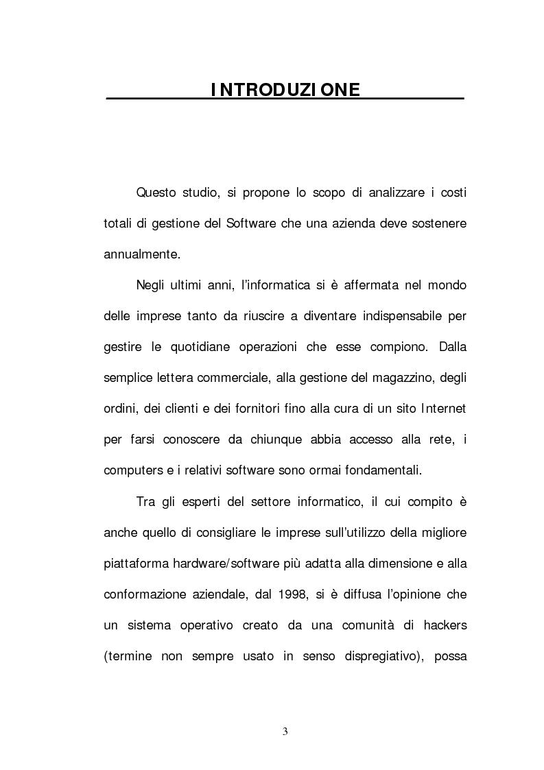 Anteprima della tesi: Software proprietario e software open source: analisi dei costi totali in azienda, Pagina 1