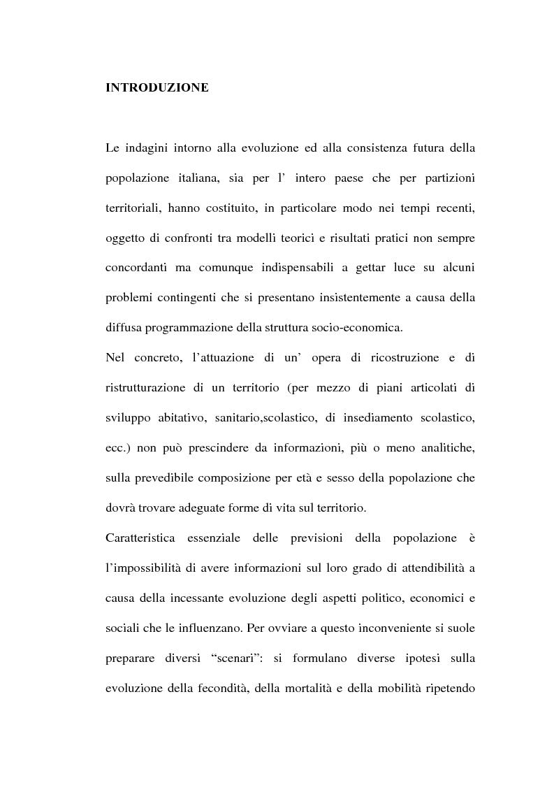 Anteprima della tesi: Le previsioni demografiche per la Campania: metodologie di analisi e risultati, Pagina 1