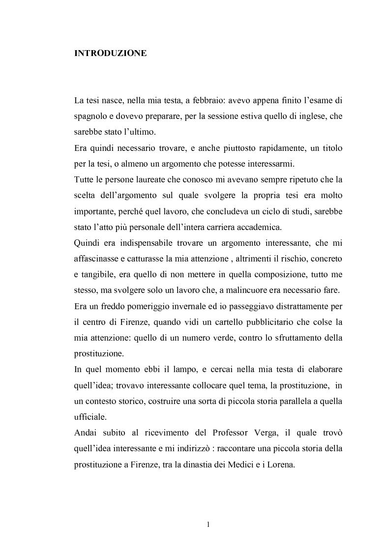 Anteprima della tesi: Ragazze di vita. Per una storia della prostituzione nella Firenze di età moderna, Pagina 1