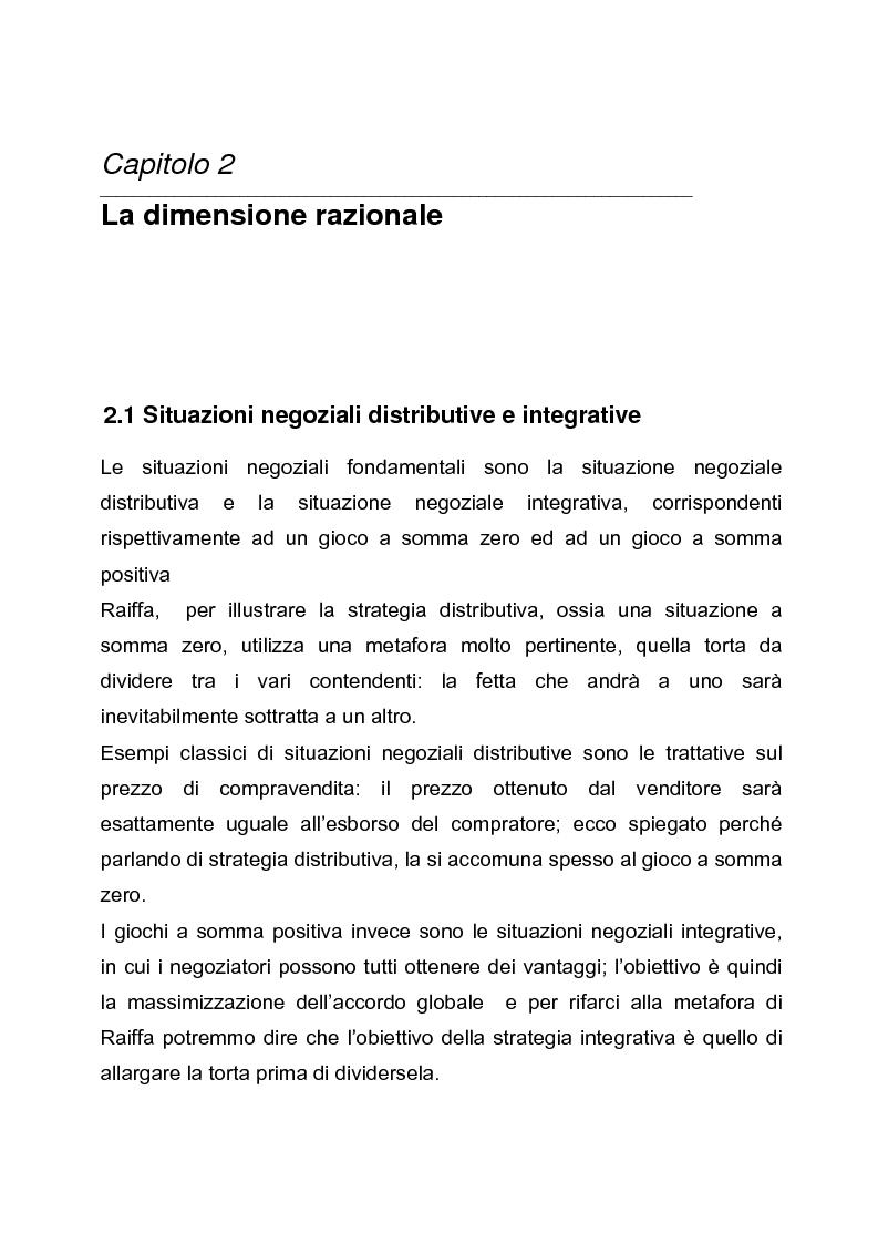 Anteprima della tesi: Il dilemma del negoziatore: strategia integrativa o strategia distributiva? Approccio cooperativo o approccio competitivo, Pagina 6