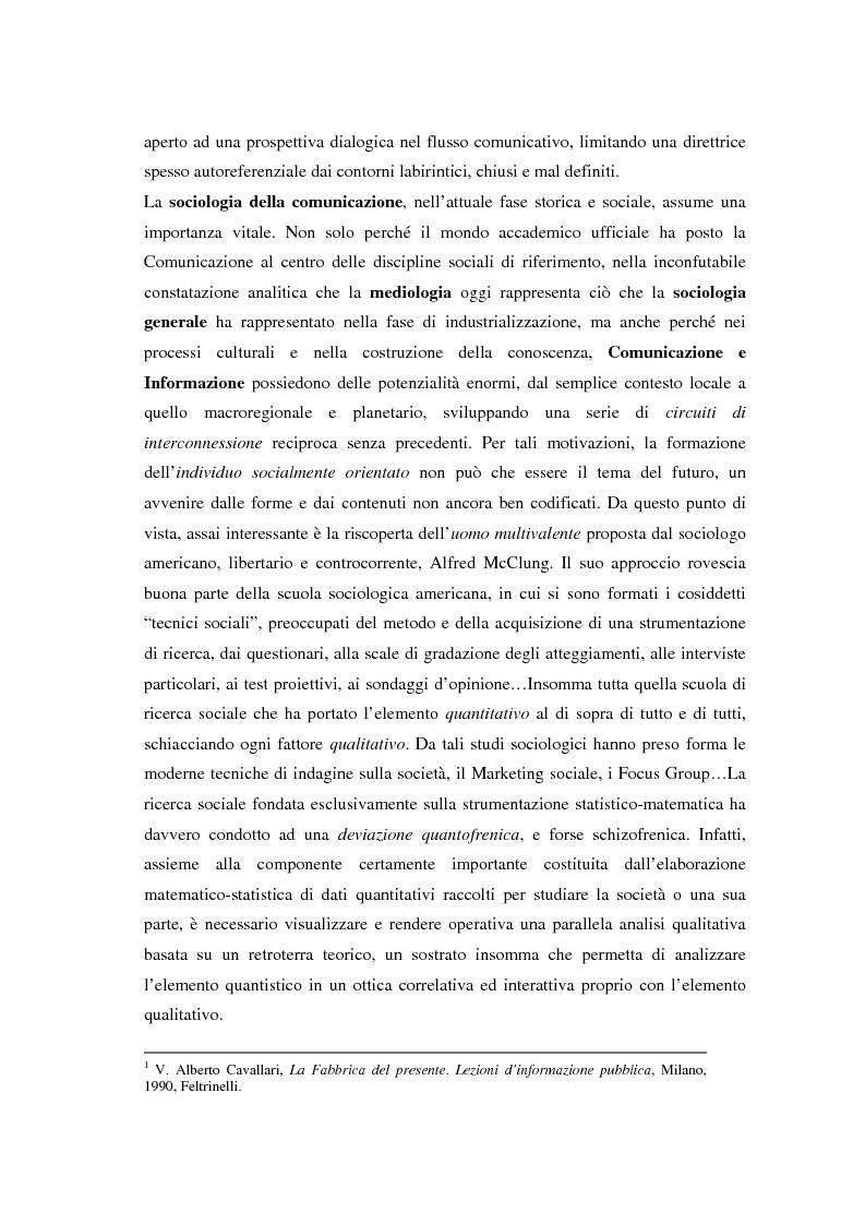 Anteprima della tesi: La comunicazione e l'informazione nei processi culturali, tra teoria e indagine empirica (La costruzione mediata della realtà), Pagina 11