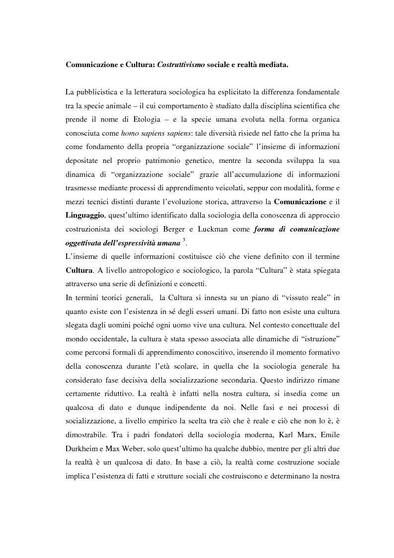 Anteprima della tesi: La comunicazione e l'informazione nei processi culturali, tra teoria e indagine empirica (La costruzione mediata della realtà), Pagina 15