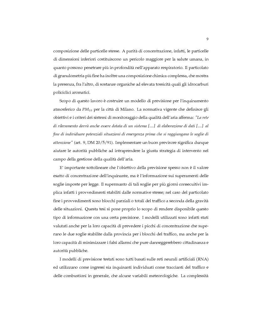 Anteprima della tesi: Reti neurali per la previsione a breve termine del PM10: il caso di Milano, Pagina 4