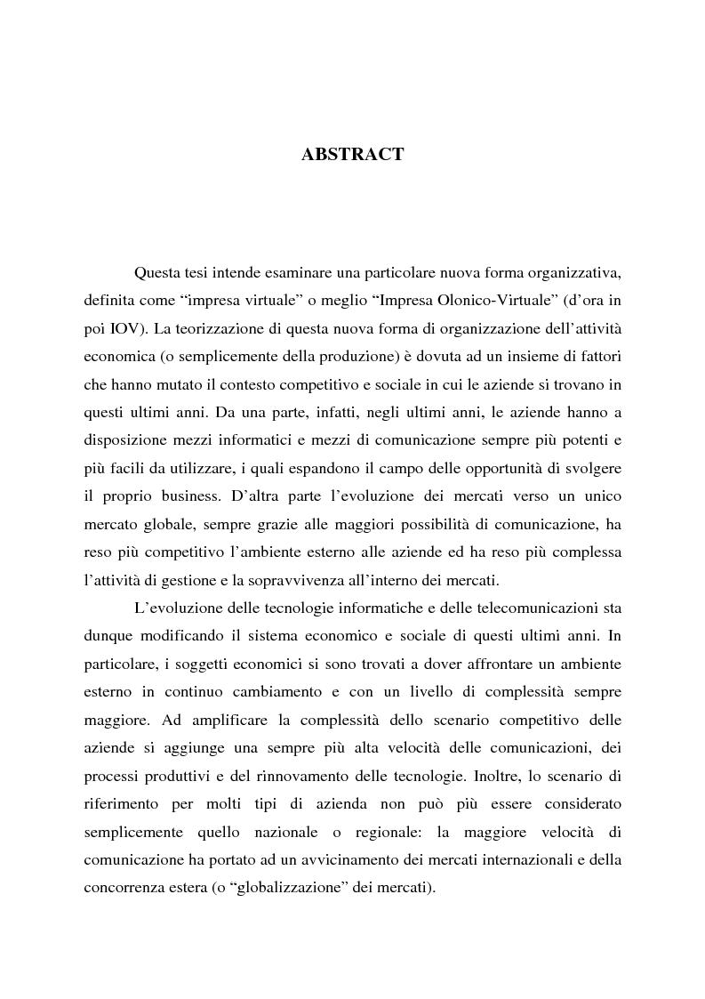Anteprima della tesi: L'impresa olonico-virtuale: problemi organizzativi e gestione, Pagina 1