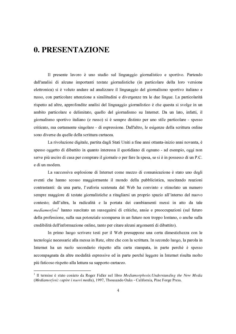 Anteprima della tesi: Ginnastica a tempo di bit: analisi comparata delle cronache sportive italiane e russe in Rete, Pagina 1