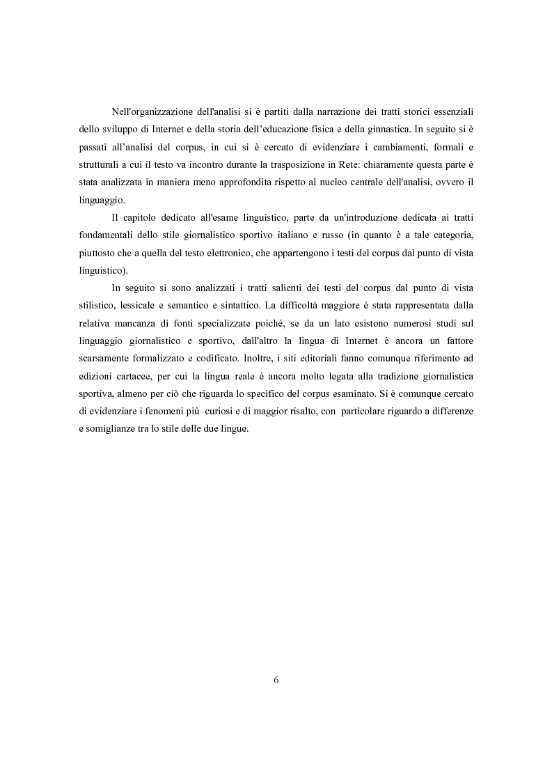 Anteprima della tesi: Ginnastica a tempo di bit: analisi comparata delle cronache sportive italiane e russe in Rete, Pagina 3