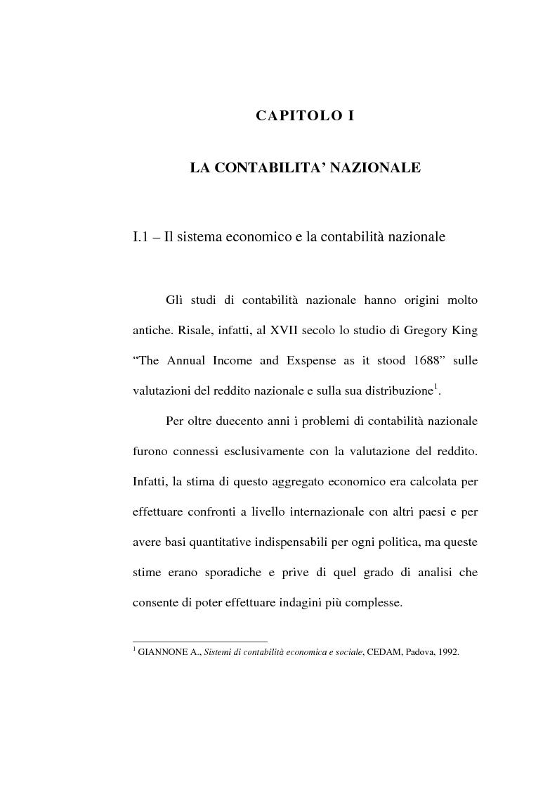 Anteprima della tesi: Il conto economico nazionale e il conto satellite della protezione sociale in Italia, Pagina 1