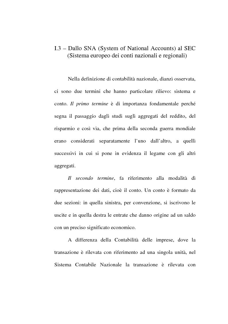 Anteprima della tesi: Il conto economico nazionale e il conto satellite della protezione sociale in Italia, Pagina 10