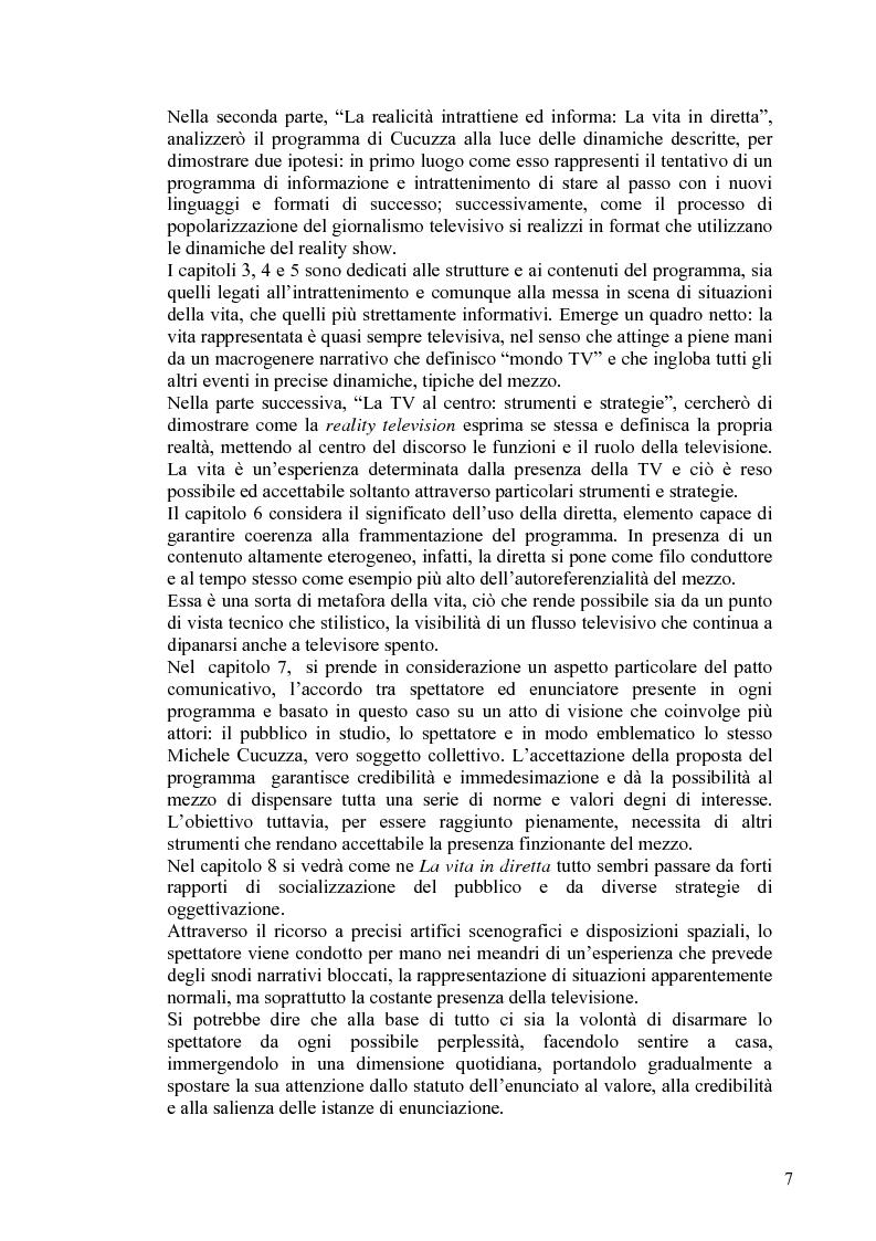 Anteprima della tesi: Vita reale e vita televisiva: ''La vita in diretta'', Pagina 2