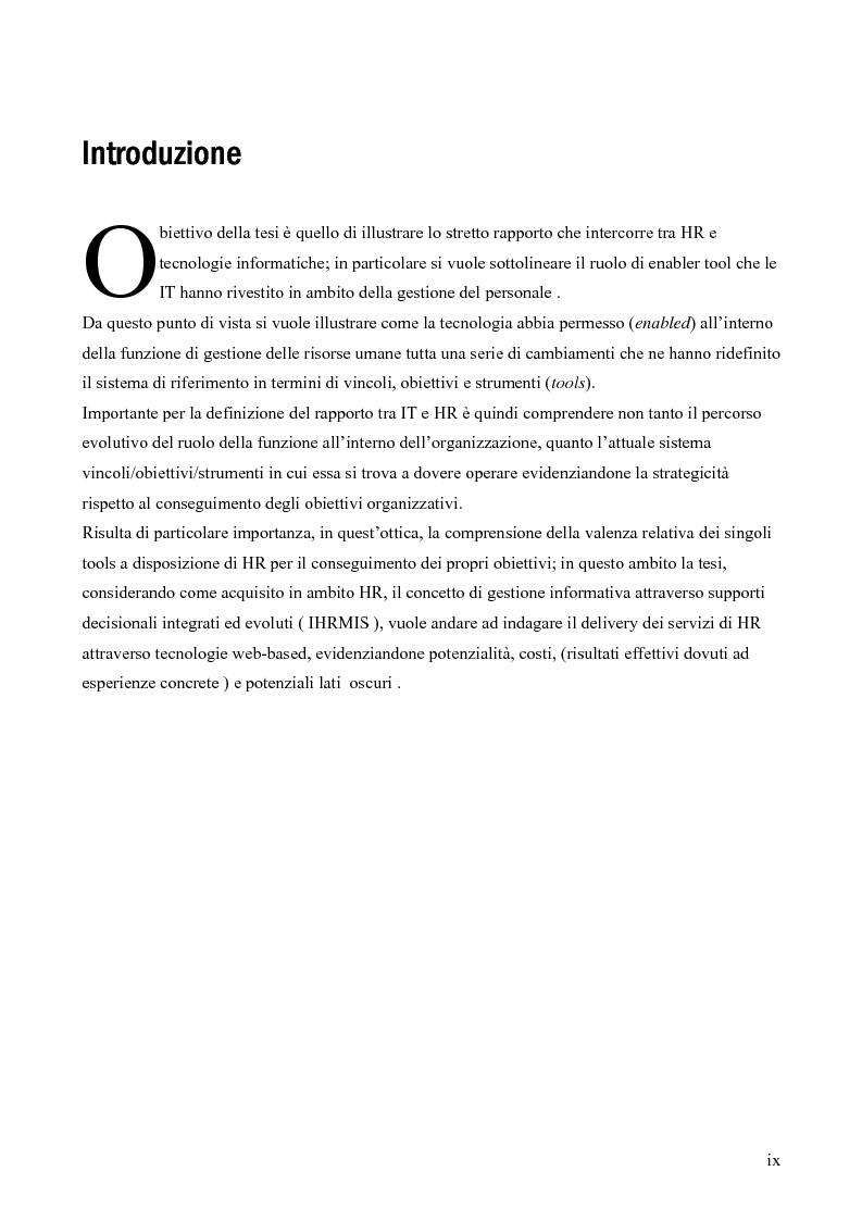 Anteprima della tesi: IT e gestione delle risorse umane, Pagina 1