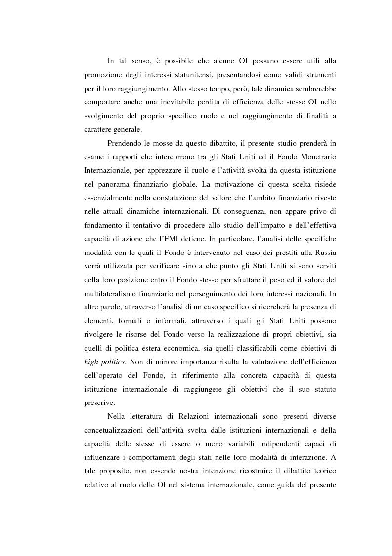 Anteprima della tesi: Il potere strutturale nell'ambito finanziario internazionale: gli Stati Uniti, il Fondo Monetario Internazionale ed i programmi di sostegno alla Russia, 1992-1999, Pagina 2