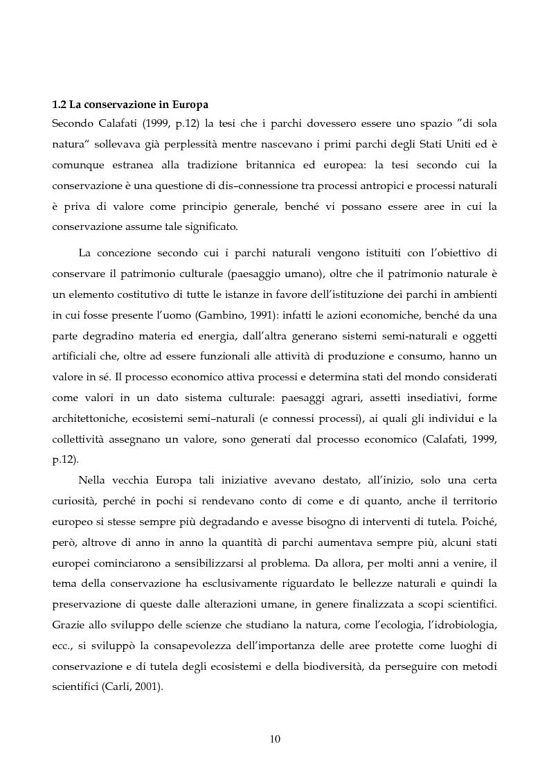 Anteprima della tesi: Sviluppo sostenibile e conservazione nei parchi naturali. Gli aspetti teorici, la realtà italiana, il caso del Parco Regionale di Migliarino San Rossore Massaciuccoli, Pagina 8