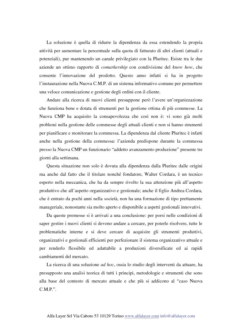 Anteprima della tesi: La riorganizzazione di un'impresa che produce su commessa:il caso Nuova C.M.P., Pagina 10