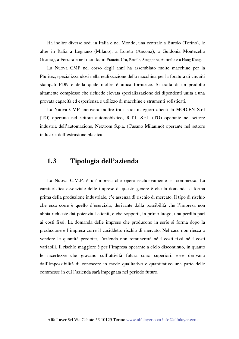 Anteprima della tesi: La riorganizzazione di un'impresa che produce su commessa:il caso Nuova C.M.P., Pagina 6
