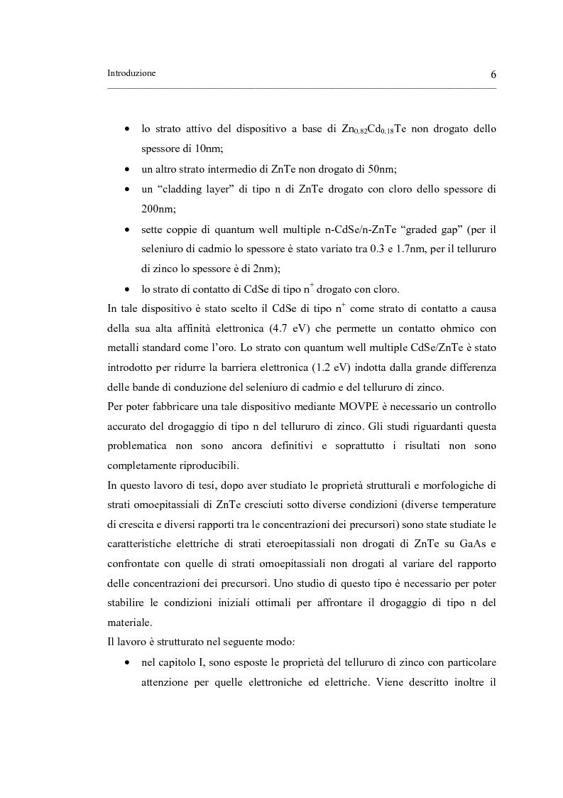 Anteprima della tesi: Crescita MOVPE e caratterizzazione di strutture epitassiali ZnTe/GaAs e ZnTe/ZnTe, Pagina 6